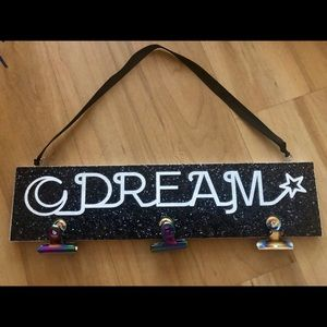 Other - Black Sparkly Dream Wall Plaque with 3 clips
